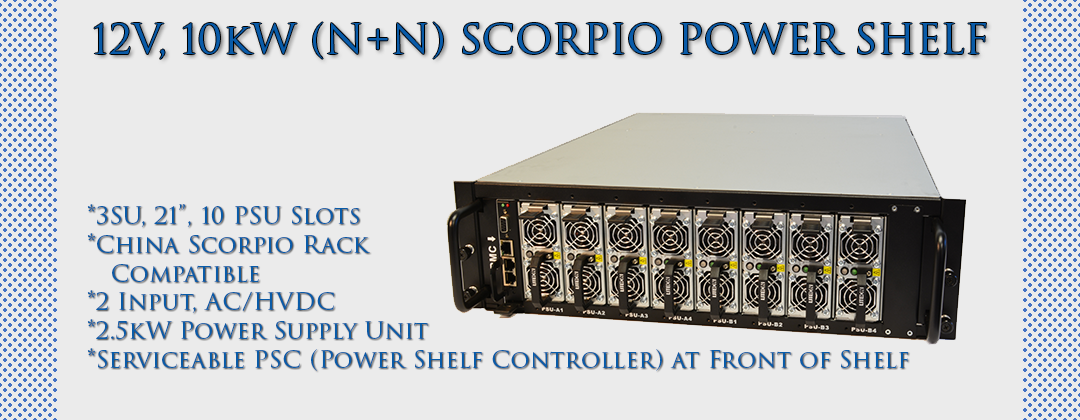 12V, 10kW, (N+N) Scorpio Power Shelf by Lite-On Cloud Infrastructure Power Solutions